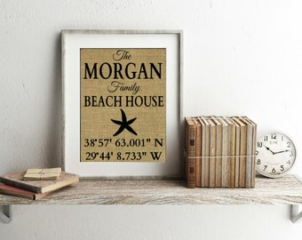 Personalized Beach House Sign With Coordinates - Burlap Print - Beach House Decor - Beach House Sign - Starfish Decor - Beach House Print