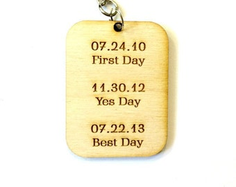Wedding gift wood keychain first day best day yes day personalized dates