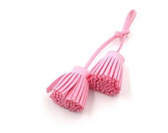 Tassel Embellishments - Pink Tassels - Decorative Tassels - 4 Light Pink Cords with Tassel Ends - Purse Tassel - Cell Phone Decor - TD-A11