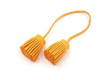 Tassels - Decorative Tassels - 4 Orange Cords, Attached Tassel Ends - Tassel Tie - Purse Tassel Cords - Cell Phone Decoration - TD-A13