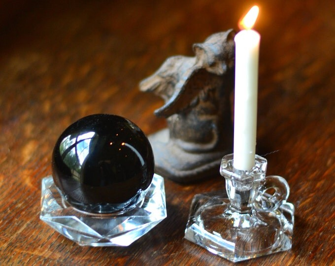 MINIATURE CRYSTAL CANDLEHOLDER, miniature candleholder, glass display stand, tealight candle, votive, wiccan altar, pagan altar