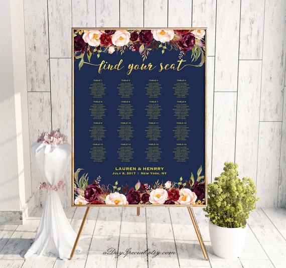 Navy Gold Wedding Seating Chart Template Printable Burgundy