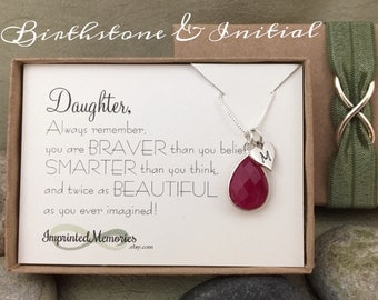 Gift for Daughter Jewelry - Sterling Silver Birthstone Necklace Daughter Birthday Gift 18th Birthday Gift Sweet 16 20th 30th from Parents