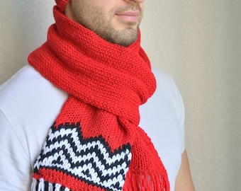 Hand knitted unisex ''Twin peaks''  hat & scarf set