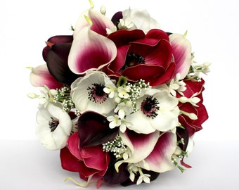 PINK WEDDING BOUQUET - Pink Anemone Wedding Bouquet , Anemone Plum Real Touch calla lily and Anemone Bridal Bouquet