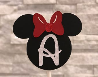 Minnie Mouse CupCake Toppers Red and Black Minnie Mouse Minnie Mouse Birthday Minnie Decor Minnie Cake Topper