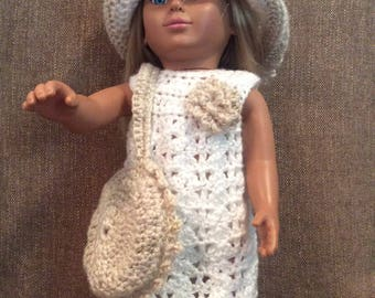 18 inch doll hand  crocheted white and gold sparkly dress, hat and purse