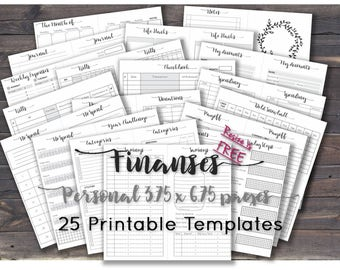 Finance planner happy printables budget journal inserts sheets template debt snowball bill tracker _ Personal Size _ Any Re-size is FREE