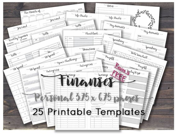 Finance Planner Happy Printables Budget Journal Inserts Sheets