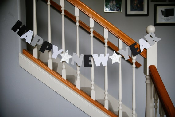 Happy New Year banner, New year letters, glitter star