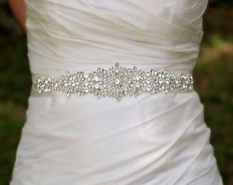 Wedding Belt Sash | Beaded Wedding Belt | Rhinestone Bridal Belt | Bridal Belt Sash | Crystal Bridal Sash | Wedding Sash | Wedding Belt