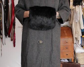 SALE! 1950's Fur Handmuff - 50's Mink Evening Winter Gloves Handwarmer purse