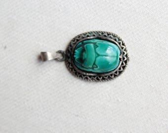 Antique Ceramic egyptian beetle pendant