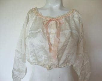 1910's Edwardian Era Camisole  White Tissue Silk and Lace Cami  Corset Cover  Genuine Vintage