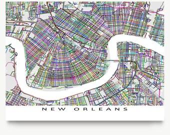 New Orleans Art, New Orleans Map Print, Louisiana City Maps, USA