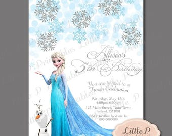 Frozen Invitation. Frozen Birthday Invitation. Frozen Party Invitation. Frozen Invitation Printable. Elsa Invitation. Snowflake Invite 044