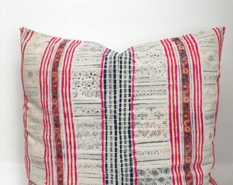 Hmong Pillow Cover, Vintage, Textile, Ethnic, Handwoven, Batik, Pink, Euro Sized, Boho Pillow