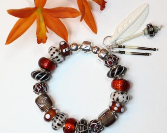 BONE and PORCUPINE QUILLs ~ with optional Genuine Pandora Bracelet & European Style Beads/Charms