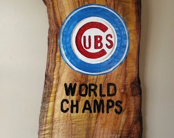 Chicago Cubs Sign, Chicago Cubs wood sign, Cubs log slice sign, Cubs home decor, Cubs man cave gift, husband gift for Chicago Cubs fan