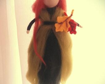 neddle felt fairy,autumn fairy,soft sculpture,waldorf inspired