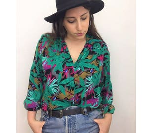 Tropical Long Sleeve Button Up Top - Kitsch Funky Colorful Button up Blouse - Summer top - Jewel Colored Shirt