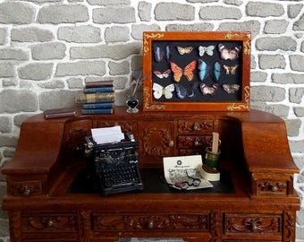 Frame wood, Collection of exotic butterflies, accessory Decoration 1/12 scale Dollhouse Miniature