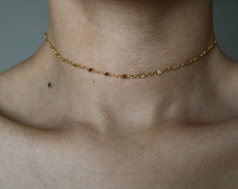 Avenue 16K Gold Plated Choker - Gold Necklace - Gold Chain Choker - Gold Chain Necklace - Gold Choker