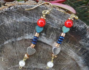 Dangle Earrings,Silver Earrings,Modern Earrings,Coral Earrings,Boho,Bohemian style,Summe,Heart Earrings,Silver Jewelry,Birthday Gift,Hippie