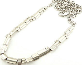 Chunky Silver Necklace, Silver Nuggets Necklace, Brushed Silver Necklace, Long Chunky Necklace, Long Beaded Necklace, Chunky Long Necklace