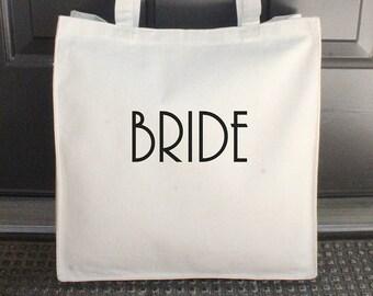 "Bride Bag, Natural, Canvas Tote Bag, Beach Bag, Embroidered, 14"" x 15"" (Black/Bonnie Font) ***READY to SHIP!"