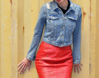 Strawberry Red Leather Pencil Skirt
