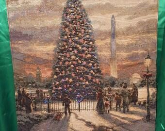 Thomas Kinkade  Christmas tapestry.