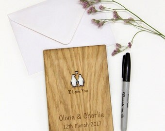 5th Anniversary Card, 5th Wedding Anniversary Gift for Her, Wood Anniversary Card for Him, Wooden Anniversary Gift, Penguins in Love