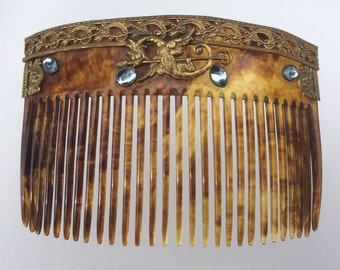 Art Nouveau Celluloid Faux Tortoiseshell Hair Comb with Glass Moonstones and Brass Dragon Embelishment. Antique/ Vintage.
