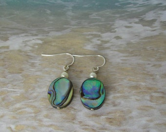 Abalone and Pearl Earrings, Beach Earrings