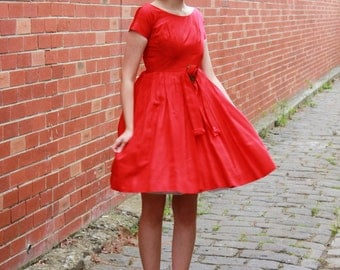 Vintage 1950s Red Rose Satin Party Dress / Full Skirt / Ballerina / XXS/XS