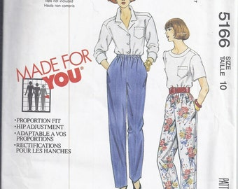 McCalls Sewing Pattern 5166 from 1991, Pull on Pants with elastic waistline  Waist 25, UNCUT