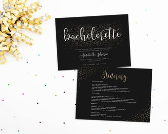 Bachelorette Invitation with Itinerary, Bachelorette Itinerary, Glitter Bachelorette Invitation, Hens Party Invitation, Bachelorette Invite