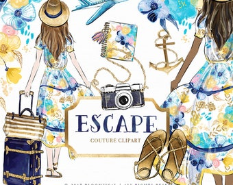 Holiday Escape Clip art Summer Beach Travel Floral Nautical Digital Graphic Fashion Girl | Planner Stickers Digital Resources Cliparts