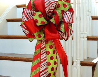 Christmas Tree Topper Bow - large tree topper bow, Christmas wreath bow, banister Decoration Bow, Christmas Bow Lime Red White