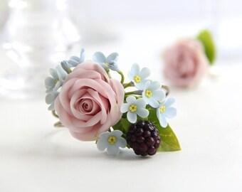Flower bracelet Floral bracelet Wedding bracelet Bracelet pink flowers Bride bracelet Bracelet cold porcelain me-nots