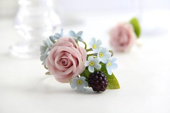 Flower Bracelet Floral Wedding Pink