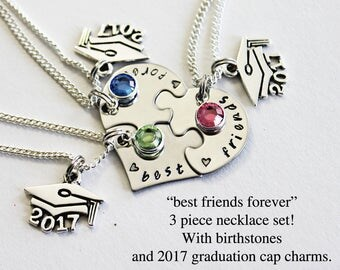 BEST FRIENDS FOREVER. With Birthstones. Graduation.  Best Friend Necklaces. bff. Graduation Gift. Best Friend Gift. Birthstones. Grad Cap.