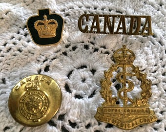Fathers Day FREE SHIPPING! Vintage  Kings Crown Button & Medical Corps Badge/Queens Crown Badge /CANADA Badge