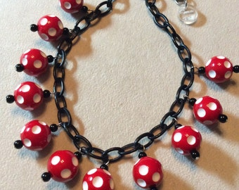LAST ONE! 40s, 50s, 60s Style Bauble / Charm Chain Necklace with Red and White Polka Dot Beads, Minnie Mouse, Pinup, VLV, Disney