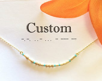 Custom Morse Code Necklace, Personalized Gift for Girlfriend, Big Little Sorority Jewelry, Personalized Jewelry for Mom, Gold Name Necklace