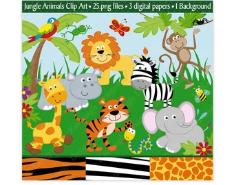 Jungle Clip Art, Jungle Clipart,Jungle Animals Clip Art,Animal Clip Art,Jungle Digital Papers,Scrapbooking,Animals, Safari, Zoo Clipart