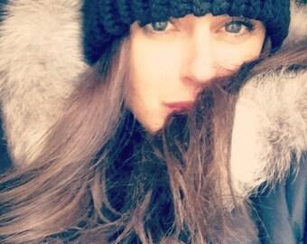 Black Handknitted Winter Hat, Winter Hat, Women's Black Beanie, Winter Fashion Accessory, Ski Accessory, Women's/Teens Knitted Hat, lady hat