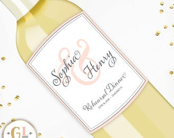 Wedding Champagne Labels, Wedding Wine, Engagement Party Labels, Wedding Day Table Wine, Rehearsal Dinner Wine Label, Custom Wedding Sticker