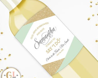 Bridal Shower Champagne Labels, Wedding Shower Favors, Cheers to the Future Mrs Wine Labels, Bachelorette Party Decor, Gifts for the Bride